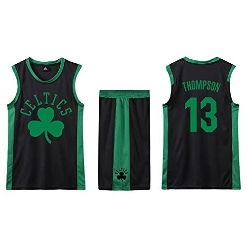 SPONYBORTY Conjunto de 2 piezas de camiseta sin mangas de entrenamiento de baloncesto y pantalones cortos Traje de camiseta Pantalones cortos deportivos Boston-Celtics Jerseys + Pantalones Ni
