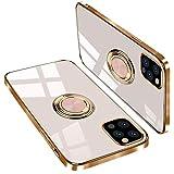 iPhone 12 Pro Max 用 ケース リング付き 衝撃吸収 カメラ保護 滑り止め、軽い、TPU アイフォン 12 Pro Max 用ケース 携帯カバー スタンド機能(iphone12pro max 用ケース ライトピンク)