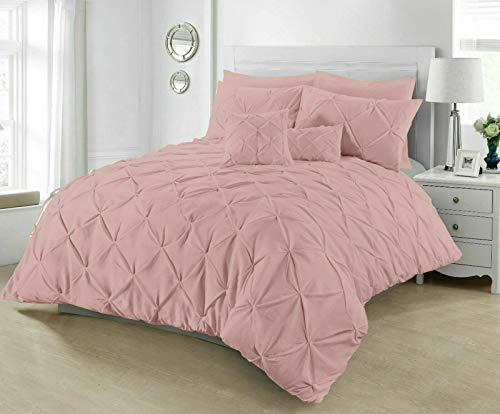Pintuck Duvet Cover with Pillowcases 100% Percale Cotton Quilt Bedding Covers Single Double King Super King Size Bed Sets (Soft Pink, King)