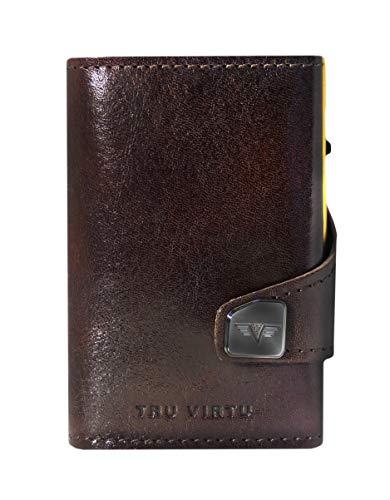 Tru Virtu® Portafoglio RFID/NFC Protezione – Portafoglio Click & Slide Florence Caf/Gold – Porta carte con semplicità in alluminio e pelle per uomo e donna – 9,9 x 6,7 x 2,1 cm