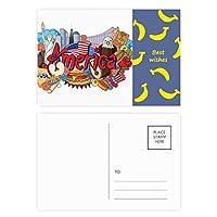 イーグルバーガーアメリカ 落書き自由 バナナのポストカードセットサンクスカード郵送側20個