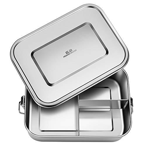 Merysen Edelstahl Bento Lunch Box, 1200ml Bento Brotdose für Kinder und Erwachsene, Metall Lunchbox mit 3 Fächern und Silikondichtung