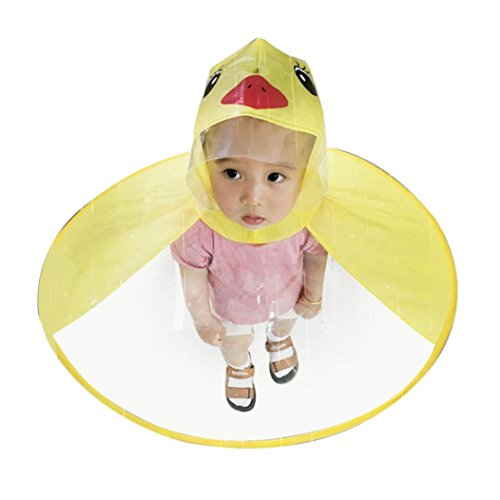 Children Cute Cartoon Duck Raincoat UFO Shape Umbrella Hat Cape Magical Hands Free Foldable Raincoat (M, Yellow)