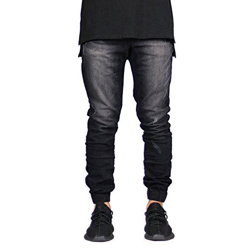Sarriben Men's Distressed Slim Fit Drop Crotch Elastic Denim Jogger Jeans Black 34