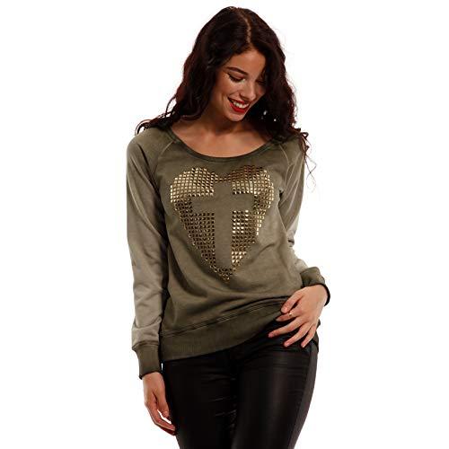 DECAY Strass Nieten Sweatshirt Kreuz-Herz Streetstyle Damen Pullover (36, Khaki)