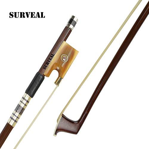 SURVEAL Arco para violín de madera de Brasil con la mejor cola de caballo de Mongolia y el mejor elástico tamaño 4/4
