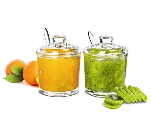 Sendez 2-tlg. Marmeladendosen Set Parmesandosen Gewürzdosen Honigtopf Marmeladentopf