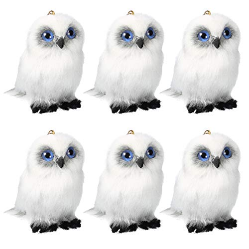 Skylety 6 Pieces Mini Owl Plush Toy 3.2 Inch Gray White Plush Stuffed Animal Toy Soft Tiny Owl Doll Plush Hanging Pendant Ornament for DIY Keychain Birthday Xmas Decorations Party Favor