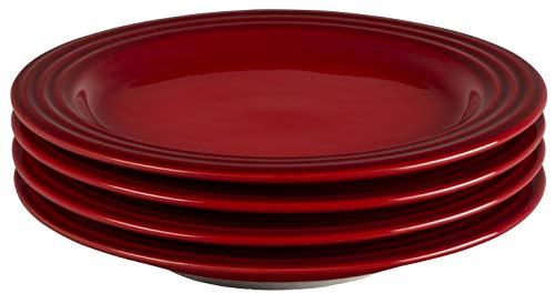 Le Creuset Stoneware Set of 4 Salad Plates, 8.5' each, Cerise
