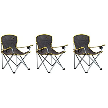 Quik Chair Heavy Duty Folding Camp Chair - Grey (3 PACK)