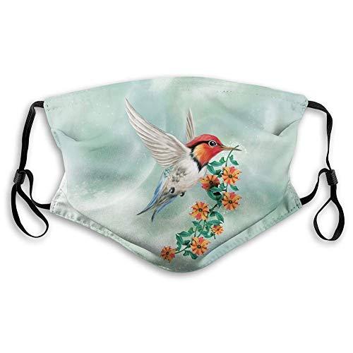 AOTISO Comfortabel bedrukt masker, kolibrie, kolibrie vliegt met bloemrijke tak Floral Nature illustratie, oranje groen