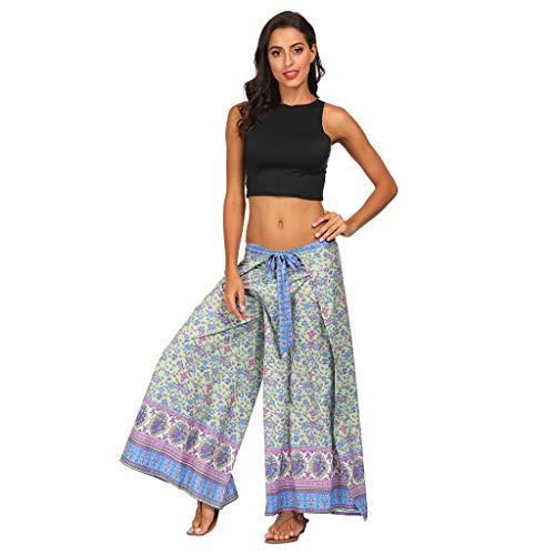 TUDUZ Yoga Hosen Baggy Hippie Boho Hose Haremshose Hosenrock Aladinhose Pumphose Pluderhosen für Damen (One Size, X1-Blau)
