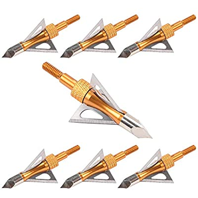 TY Archery 6Pcs 100 Grain 3 Blade Broadheads Hunting Arrow Heads Screw-in Tips Crossbow & Compound Bow, One Broadhead Case, One Broadhead Wrench Safety Protect Finger