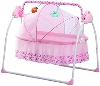 CBBAY Electric swing baby cradle Multifunctional newborn child tot little one rug rat crib babe neonatecart crib Bed Music charged electrifying bassinet crib cot rocker portable Automatic collapsible chair rockingoscillation rocker sway oscillate move back and forth move to and fro wave wag waggle rock infant baby product (Pink)
