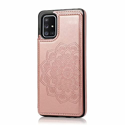 Lijc Compatible con Funda Samsung Galaxy A11 Botón Doble Mandala En Relieve PU Cuero Tarjeta Bolsillos [Ranura para Tarjetas] [Soporte Plegable] Antigolpes Flip Caso-Oro Rosa
