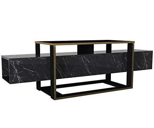 Alphamoebel 5095 Bianco Wohnwand Anbauwand TV Lowboard Board Tisch Fernsehtisch Schrank für Wohnzimmer, Holz, Dunkelgrau Marmor Optik, mit Stauraum, Fernsehständer, 160 x 49,8 x 46,1 cm