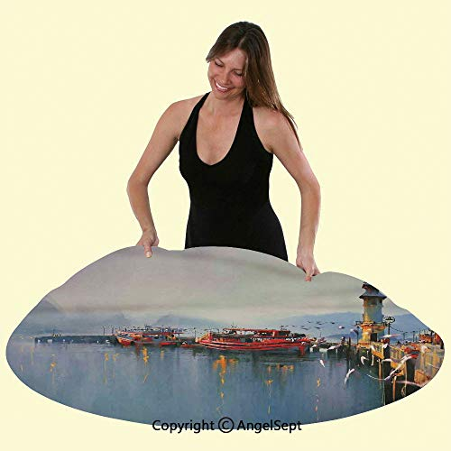 Sweetg Tablecloths Deluxe Elastic Edged Polyester Fitted Table Cover View of a Misty Morning at The Harbor with Boats and Birds in Old Fishing Town Mod Paint Art Fits Tables up 60' Round,Multi