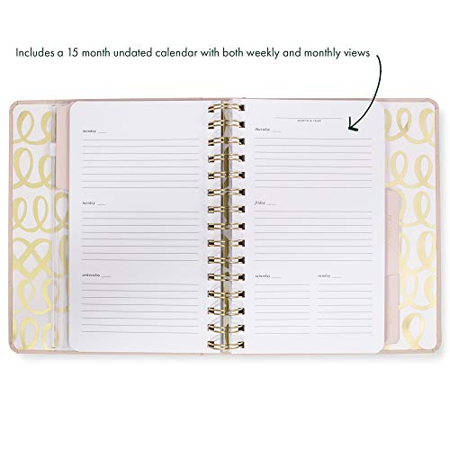 Product Image 4: Kate Spade New York Undated Wedding Planner Organizer Weekly and Monthly, Bridal Appointment Calendar Book, Engaged (Blush)