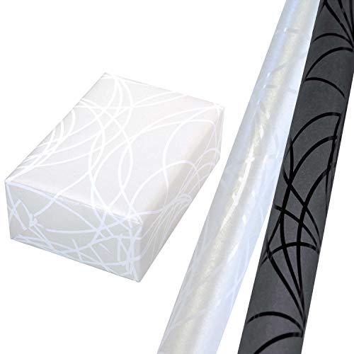 Geschenkpapier Set 2 Rollen (75 x 150 cm), weiße Lack-Linien auf Perlglanzhintergrund + schwarze Lack-Linien auf Dunkelgrau. Für Geburtstag, Weihnachten, Hochzeit, Männer.