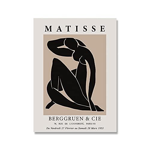 Matisse Exhibition Abstract Girl Curve Leaf Wall Art Poster nordico e immagine da parete stampata Pittura su tela senza cornice A5 15x20cm