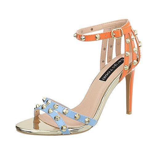 Ital-Design High Heel Sandaletten Damen-Schuhe Pfennig-/Stilettoabsatz Heels Schnalle Sandalen & Blau Orange, Gr 40, Aj-555-