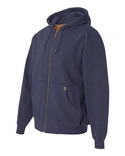 DRI Duck Men's 7033 Crossfire Heavyweight Power Fleece Zip-Up Jacket with Thermal Lining Hooded Sweatshirt (Large, Navy)