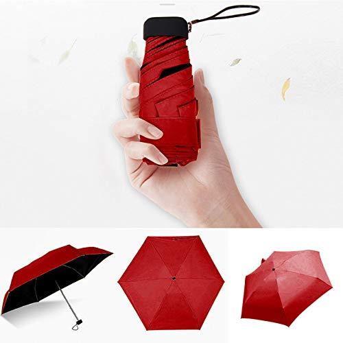 Paraguas ligero de lujo para mujer Parasol con revestimiento negro Parasol con 5 pliegues para la lluvia y el sol Unisex Travel Protable Pocket Mini Umbrella-Red, Estados Unidos