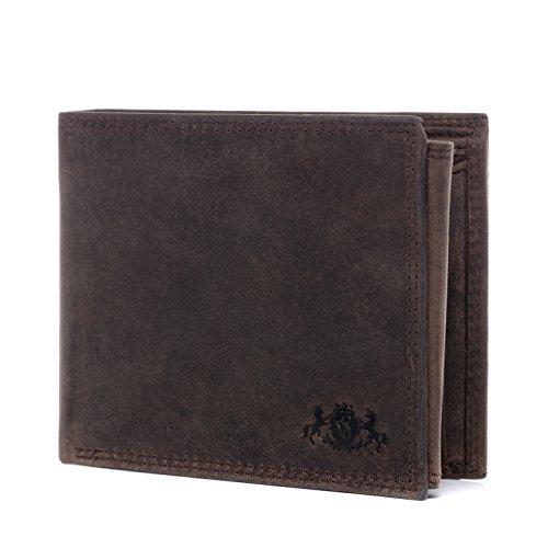 SID & VAIN portemonnee echt leer Jack liggend formaat portefeuille lederen portemonnee unisex bruin