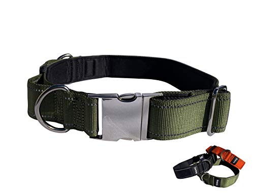"""Bontog Ultimate Tactical Dog Collar with Military-Strength Nylon, Control Handle, Two D-Rings, Quick Release Stainless Steel Buckle (Large (Width 1.25"""", Neck 16""""-20""""), Hunter Orange)"""