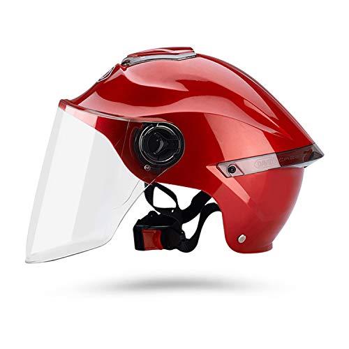 Galatée Caschi da Moto per Adulti con Visiera. Casco Alla Moda per Biciclette Cruiser Scooter ATV Supera il Test di Collisione per Soddisfare la Sicurezza Stradale(Rosso, Lente trasparente)