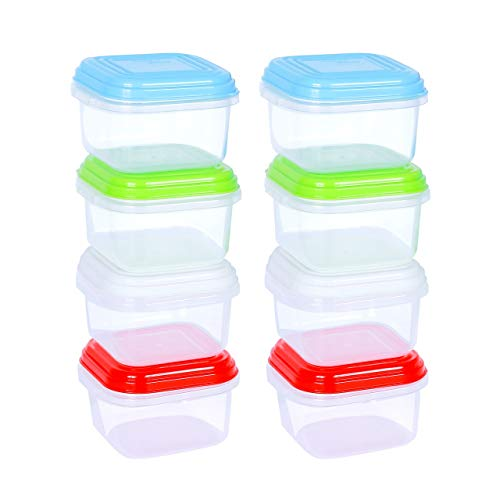 ARSUK Mini-Vorratsbehälter 8 Stück - 120ml, Mehrfarbig, Kunststoff, BPA-Frei, 5.7x5.7x3.8cm BPA-Frei