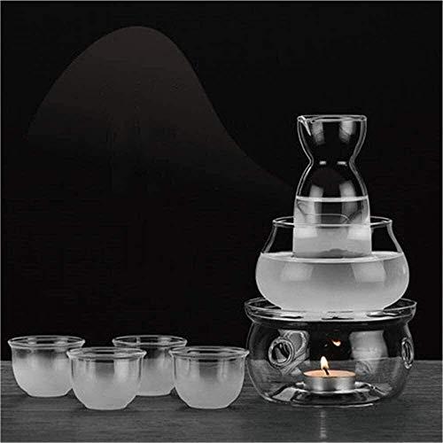 Japanese Hot Sake Set,Sake Set with Warmer, Traditional Milk Glass Hot Set 7 Pieces, for Keeping Liquid Warm or Cold Unique Design comprising 1 Candles Furnace 1 Piece Heat Beaker, 1 Piece Sake Pot (C
