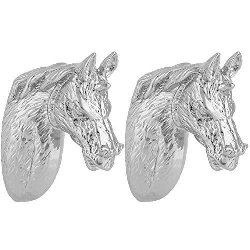 2 Juegos de Tiradores de Armario Impermeables fáciles de Instalar Mango de Cabeza de Caballo de aleación de Zinc Cómodo para Mantener el Proceso de galvanoplastia para Cocina(3999 Silver Horse)