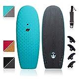 South Bay Board Co. - Hybrid Surfboards - Wax-Free Soft Top + Fiberglassed Bottom Deck Surfboard (6' Razzo - White, 6' Razzo - White)