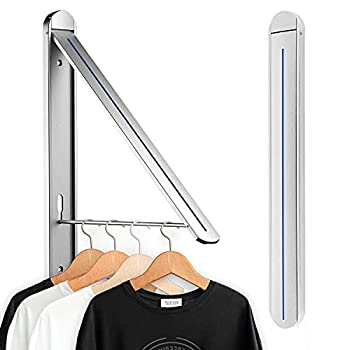 SunEegral Aluminum Folding Hanger for Laundry Room Clothes Drying Rack,Wall Mounted Collapsable Laundry Room Closet Storage Organization Dry,Retractable Clothes Hanger Silver-1P