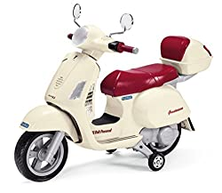 Official Licensed Vespa with High Quality Detail and Leather Seat Right Hand Grip Twist Accelerator & Brake By Releasing it with Quality Rubber Hand Grips Large Rubber Tyres with Protective Mud Guards to Protect from Spray Large Reflective Front Ligh...
