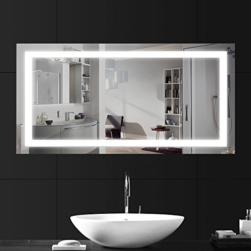 LEBRIGHT Miroir Salle Bain 100x60cm 23W lampe miroir salle de bain led, Miroir LED Lampe de Miroir Éclairage Salle de Bain Miroir Lumineux Solide de Verre Trempé Anti-déflagrant (4000k Blanc neutre)