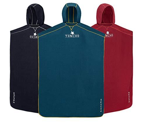 TONCHO Plus (azul gasolina) Poncho de toalla de cambio avanzado para nadar y cambiar de playa para adultos