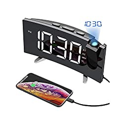 PICTEK Projection Digital Alarm Clock Radio for Bedrooms Ceiling with USB Phone Charger, 5'' Large Curved LED Display, 6 Dimmer, Dual Alarms with 4 Sounds, Snooze