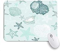 マウスパッド 個性的 おしゃれ 柔軟 かわいい ゴム製裏面 ゲーミングマウスパッド PC ノートパソコン オフィス用 デスクマット 滑り止め 耐久性が良い おもしろいパターン (水中の貝殻の繰り返しヒトデ軟体動物巻貝自然カタツムリ)