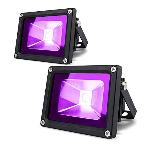 LANFU 2 Pack 10w LED Black Light Blacklight for Fluorescent Neon Glow in The Dark High Power LED Flood Light IP65 with Plug for Party Birthday,Bar ,Party Supplies,Neon Glow,Aquarium, Night Club