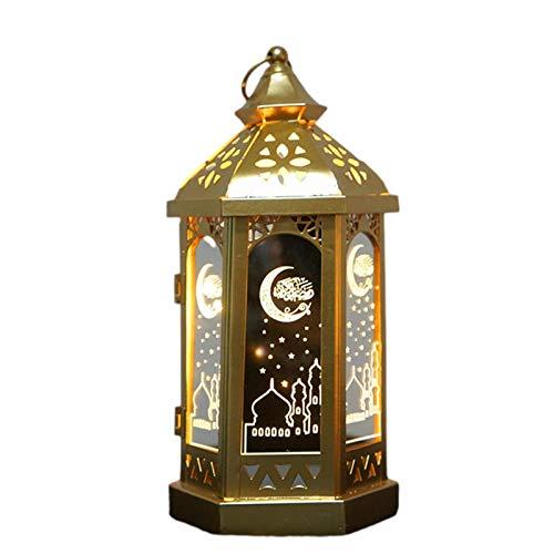 XIAMUSUMMER Ramadan Mubarak: رمضان Islam Eid LED Lantern Decorations - Musulman Ramadan Actividades Partido Faro Festival Festival de Escritorio Linterna Decorativa - Luna Luces de Estrella Adornos