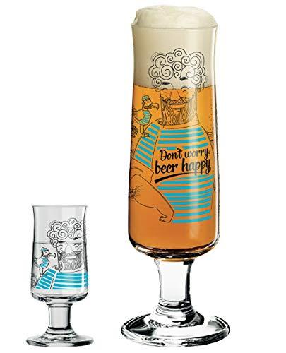 Dekomiro RITZENHOFF Beer Bierglas und passendes Schnapsglas 2er Set inkl. Glasputztuch Natalia Yablunovska Kollektion Frühjahr 2019
