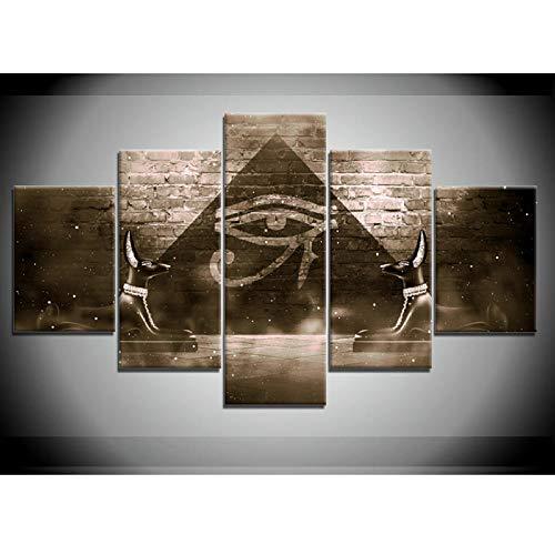 104Tdfc Anubis Antiguo Egipto Dios Muerte 5 Pieza Cuadro en Lienzo 150X80CM Impresión 5 Piezas Tejido no Tejido Decoración Hogar Cartel Arte Pared Pintura Regalos