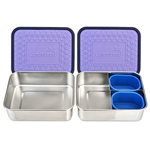 LunchBots Lite Bento Box Lunch Bundle – Includes Two Bento Boxes - One Section and Three Section Stainless Steel Containers and Silicone Cups - Eco-Friendly Dishwasher Safe BPA-Free - Lavender