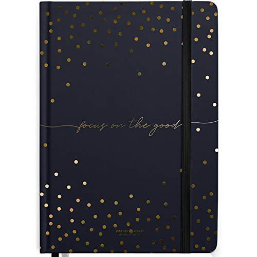 Lebenskompass® Bullet Journal QUOTE �GOLDREGEN� - Notizbuch A5 Extradickes Papier, Dotted 5 mm, Gummiband, 115 g/m² FSC® Papier - Bujo Buch & Tagebuch