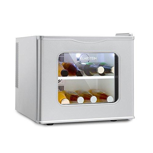 KLARSTEIN Winehouse - Minibar, Mini frigo 17 Litri, Frigorifero per Bevande, 60 W, Classe A++, Porta di Vetro, da 8 a 18 Gradi, Vetratura Doppia e alloggiamento in Acciaio, Argento
