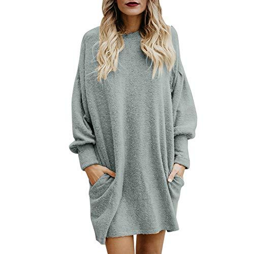 TWIFER Frauen Oansatz Tasche Lange Pullover Langarm Damen Lose Sweater