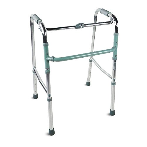 Mobiclinic, Modelo Columna, Andador para adultos, ancianos, mayores o minusvalidos, de aluminio, ligero, plegable, con asiento y sin ruedas, Color Gris