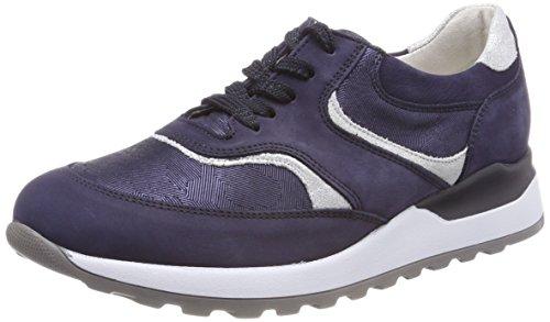 Waldläufer Damen Hiroko Sneakers, Blau (Nubuk Tequile Glitter Nub Blue Silber), 38 EU (5 UK)